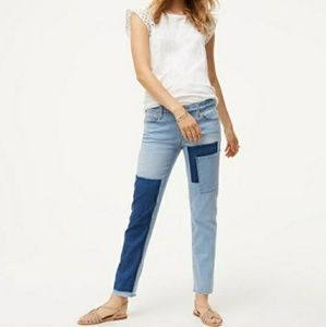 Loft Patched Boyfriend Jeans Raw Hem Distressed 28